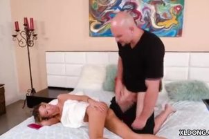 Ultra tiny babe and her huge cocked boyfriend